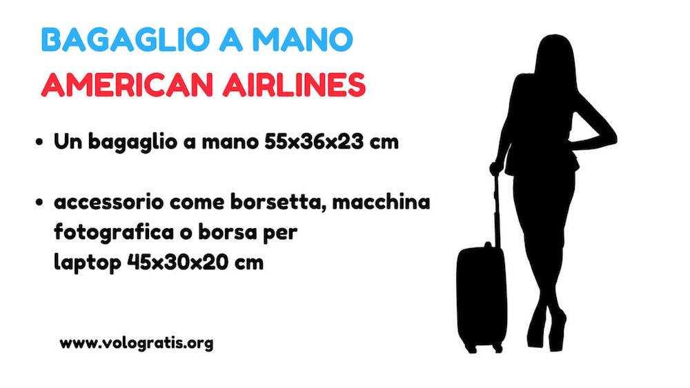 american airlines bagaglio a mano e da stiva peso e