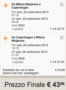 easyjet copenaghen milano settembre 2013
