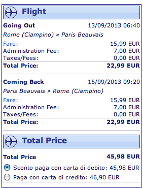 ryanair parigi 46 euro