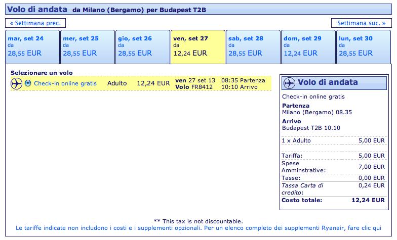 voli ryanair milano budapest 12 euro settembre 2013