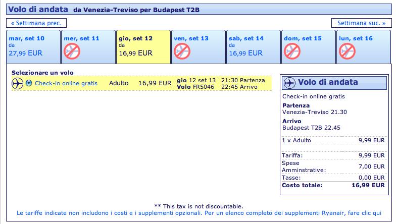 voli ryanair venezia budapest 16,99 euro