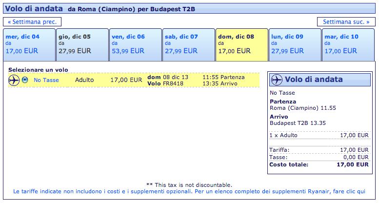 roma - budapest ryanair 17 euro