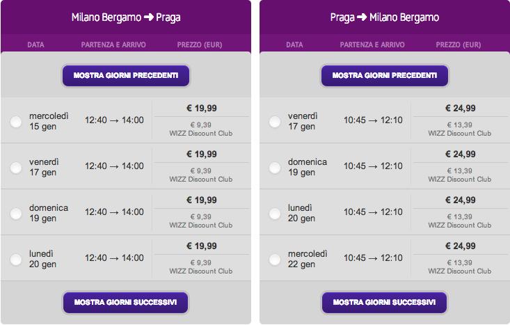 milano praga wizz air gennaio 2013