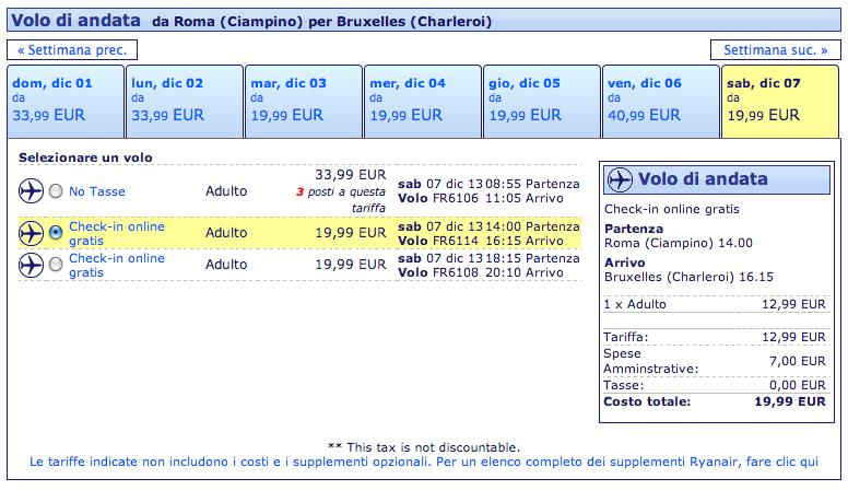 roma bruxelles 19,99 euro tutto compres