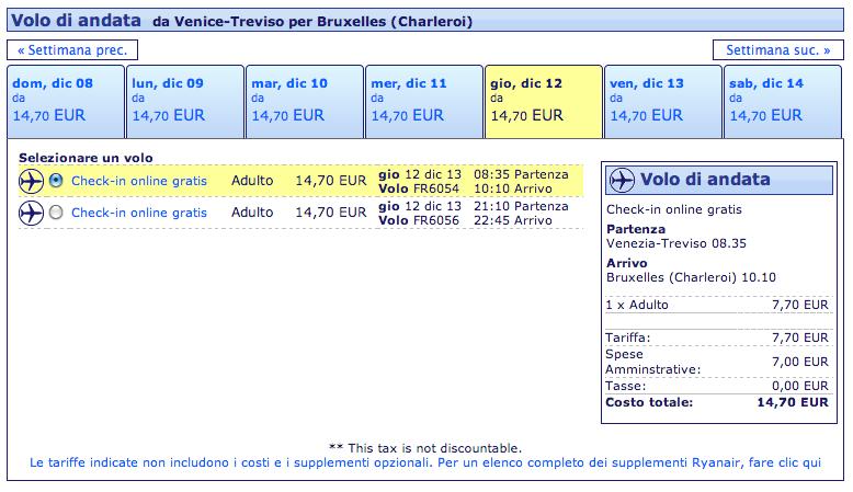 ryanair treviso bruxelles 14,70 euro