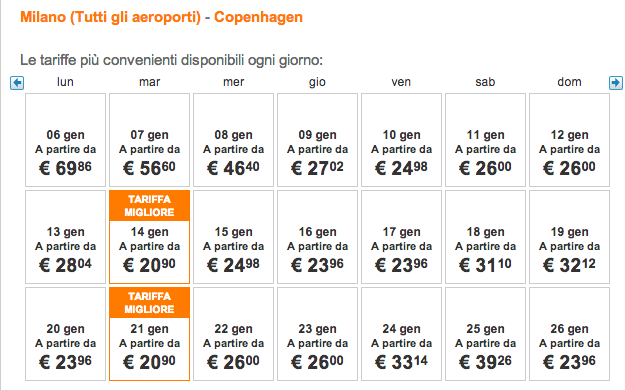 voli easyjet low cost milano copenaghen gennaio 2014