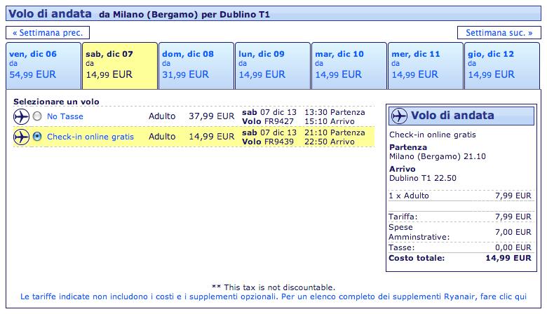 voli ryanair per dublino dicembre 2013