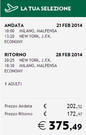 milano new york alitalia