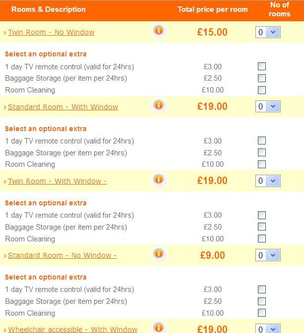 rooms prices easyhotel glasgow
