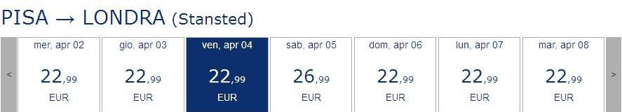 pisa londra 23 euro