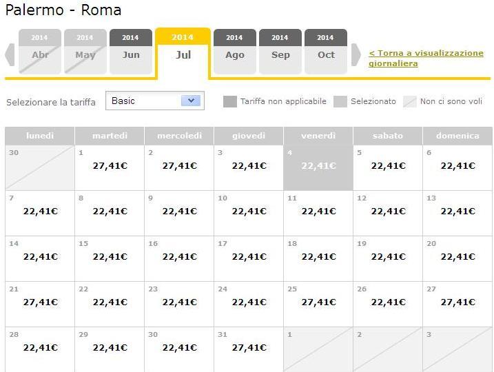 vueling palermo roma luglio 2014