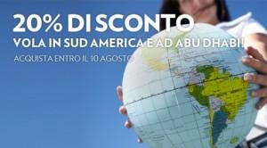 codice sconto alitalia sudamerica e abu dhabi