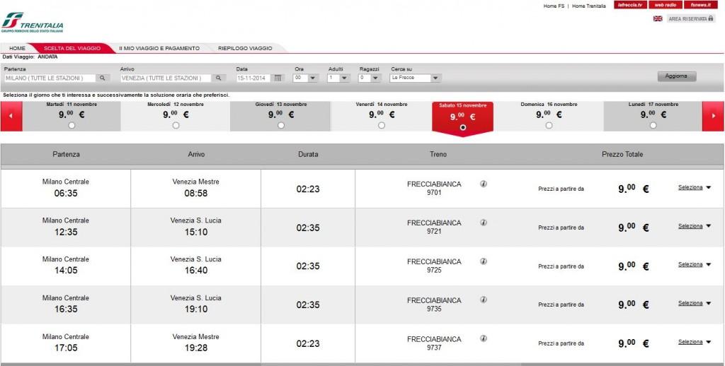 biglietti trenitalia 9 euro milano venezia
