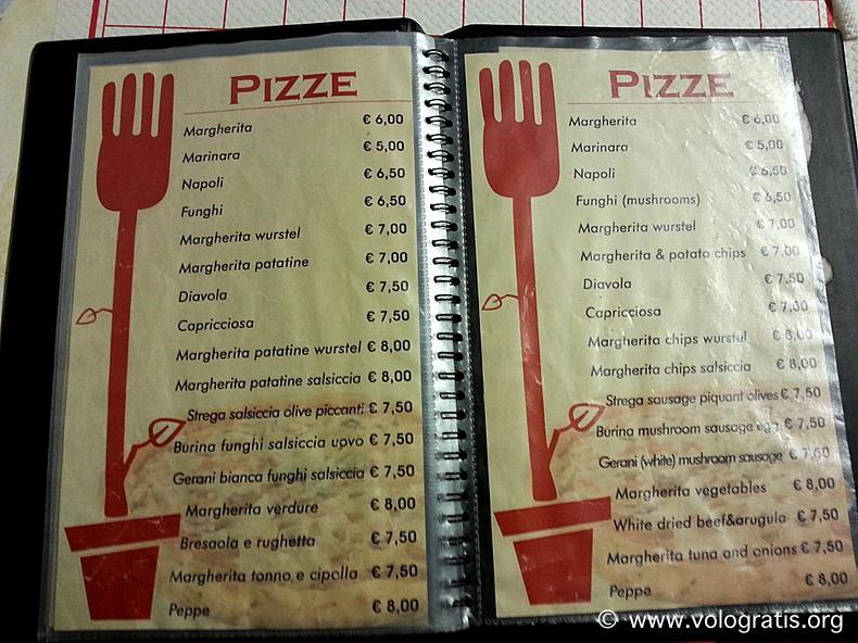 menu pizze i gerani da peppe roma