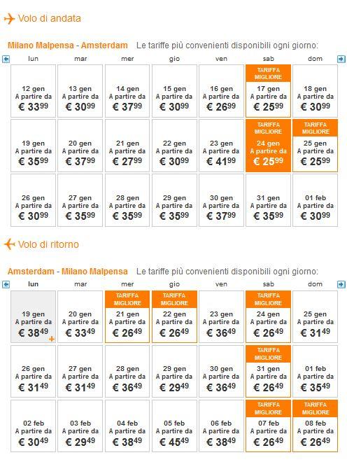 voli low cost easyjet per amsterdam