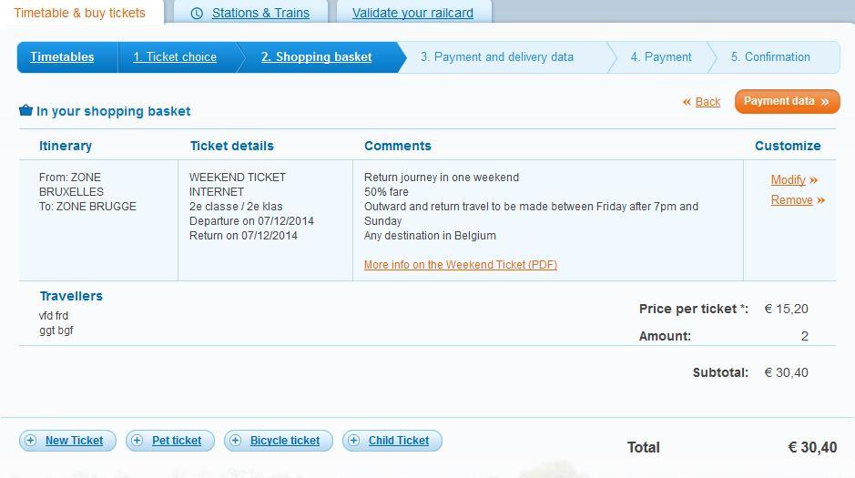 schermata acquisto biglietti treno bruxelles - bruges