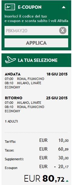codice sconto alitalia per estate 2015