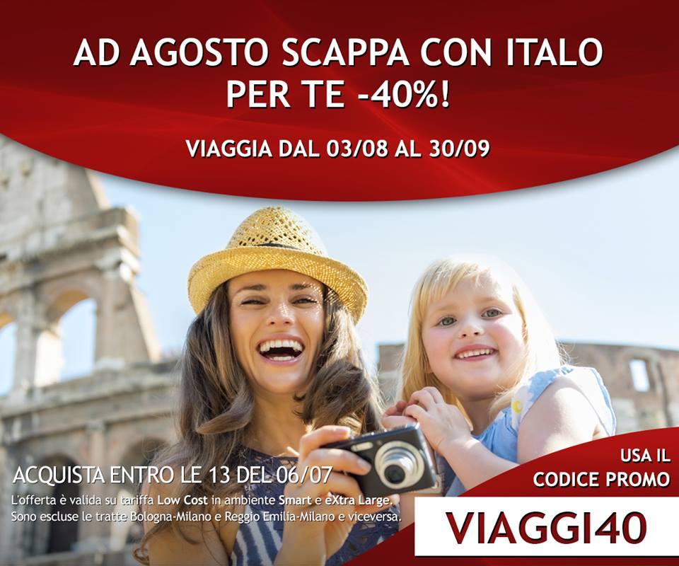 Treni Italo per l'estate scontati del 40%