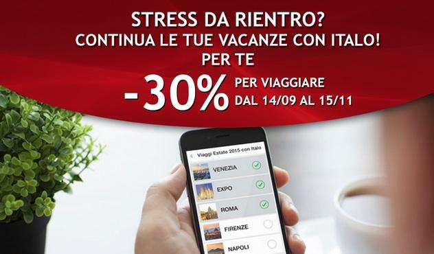 30% di sconto sui treni Italo