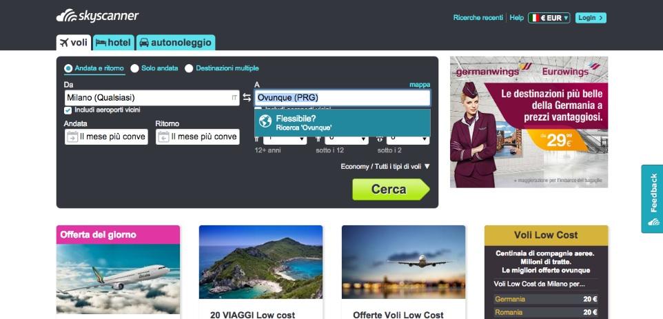 come cercare i voli più economici skyscanner 2