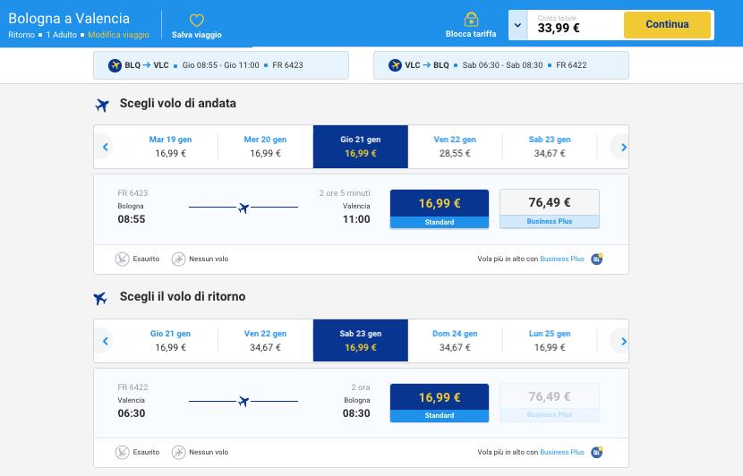 voli low cost ryanair bologna valencia