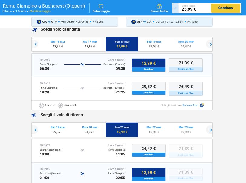 biglietti aerei low cost per bucharest