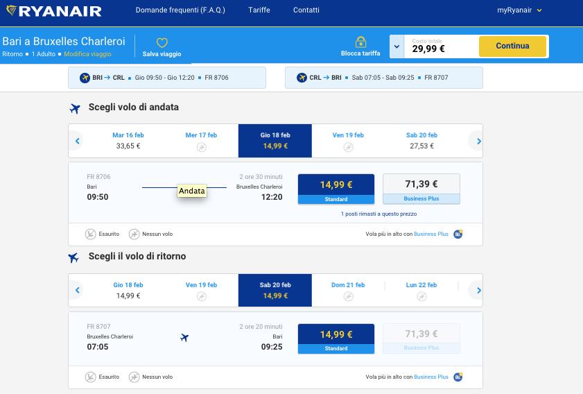 biglietti aerei low cost per Bruxelles