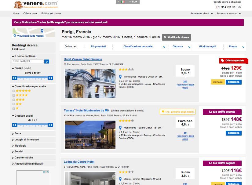 tariffe segrete hotel venere