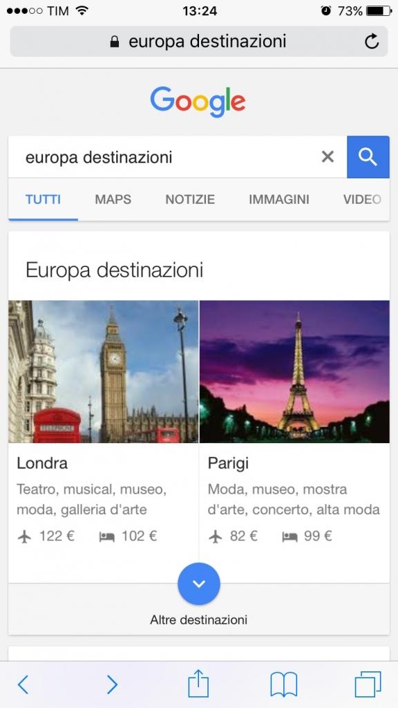 ricerca google detinations