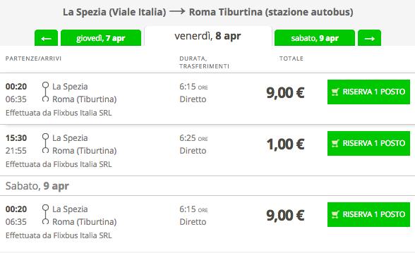 biglietti flixbus 1 euro per roma