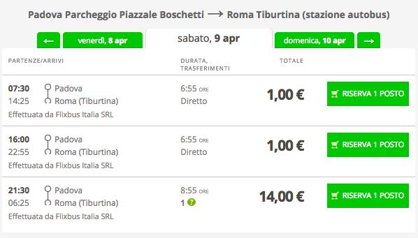 biglietti flixbus da 1 euro roma