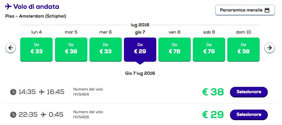 voli low cost per amsterdam transavia da pisa