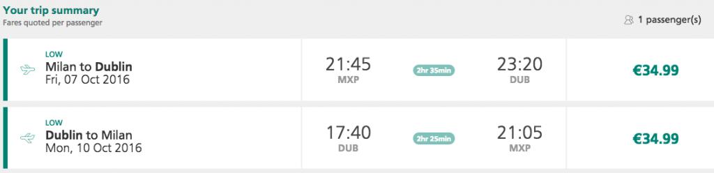 biglietti aerei per dublino aer lingus