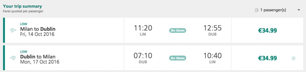 biglietti aerei per dublino da linate