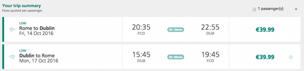 biglietti aerei per dublino da roma