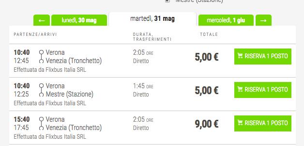 biglietti low cost flixbus venezia
