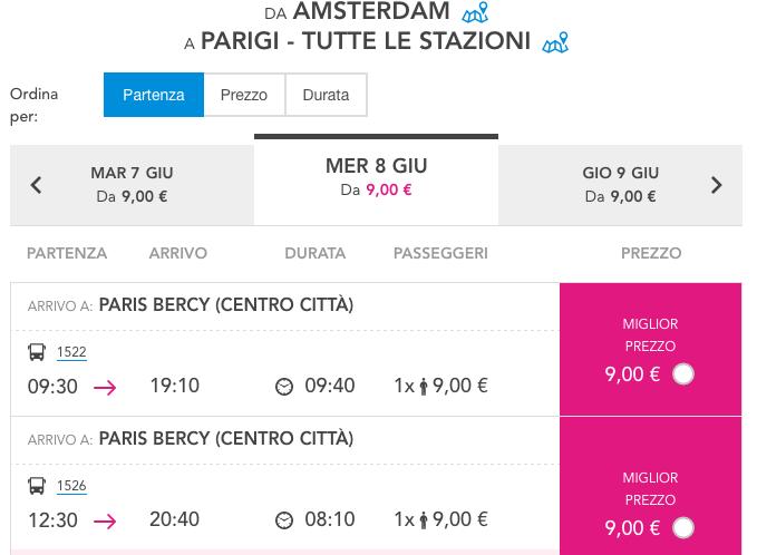biglietti per parigi da amsterdam