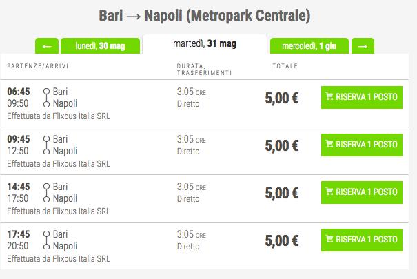 biglietti low cost flixbus per napoli