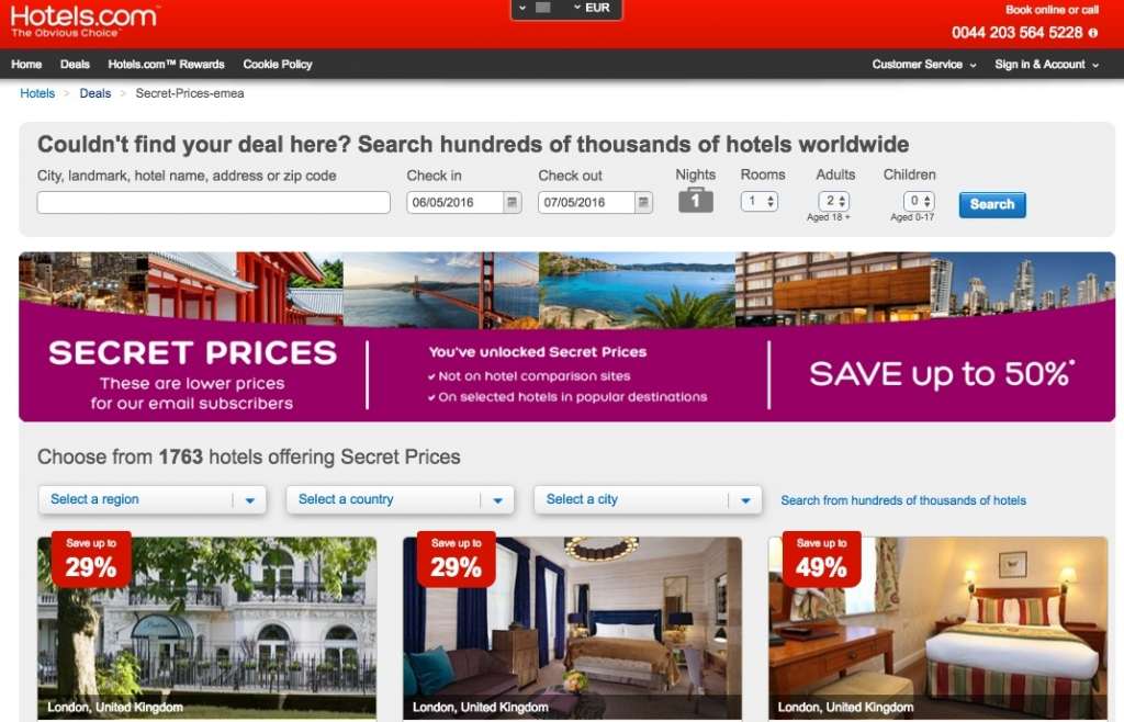 secret prices hotels.com