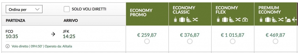 tariffe alitalia economy