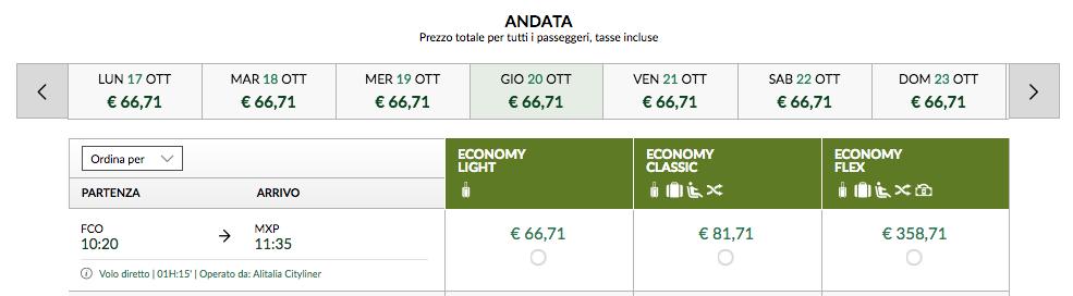 tariffa alitalia