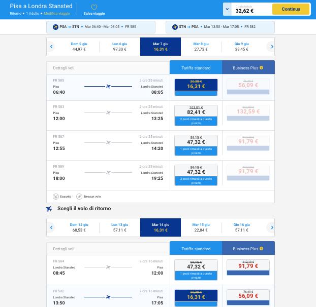 biglietti aerei per londra da pisa