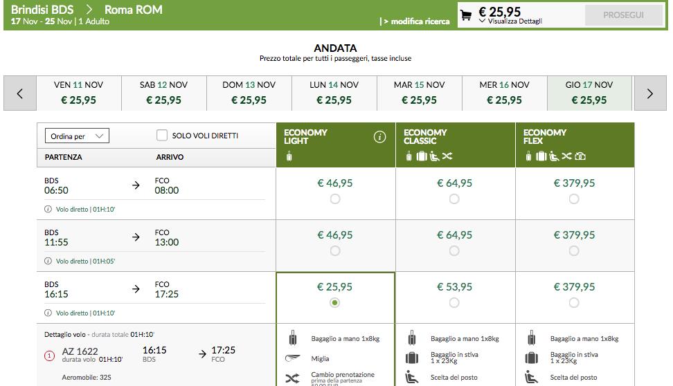 biglietti low cost alitalia roma
