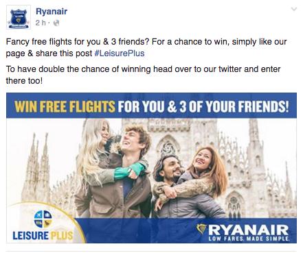 concorso per vincere voli ryanair facebook