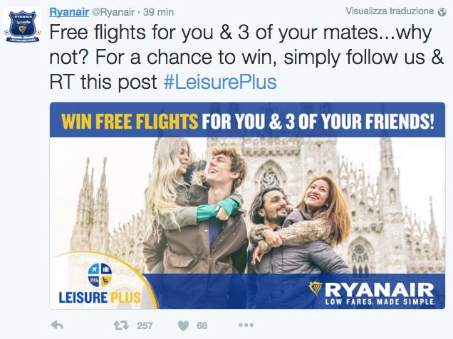 concorso per vincere voli ryanair twitter