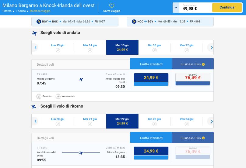 Voli Ryanair per Irlanda da milano