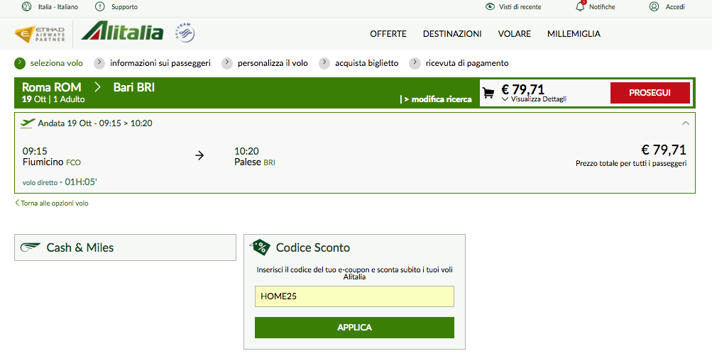 coupon alitalia