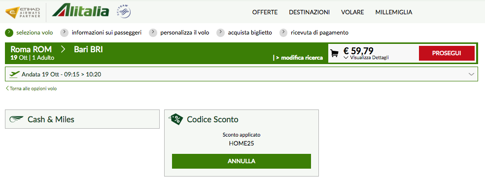 coupon sconto alitalia