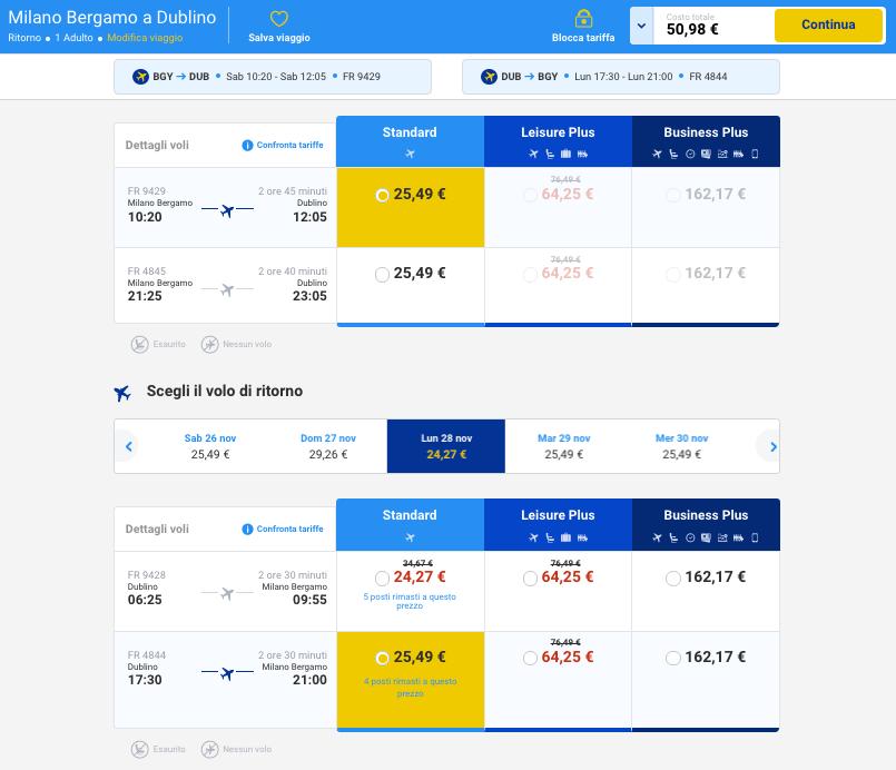 voli low cost per dublino