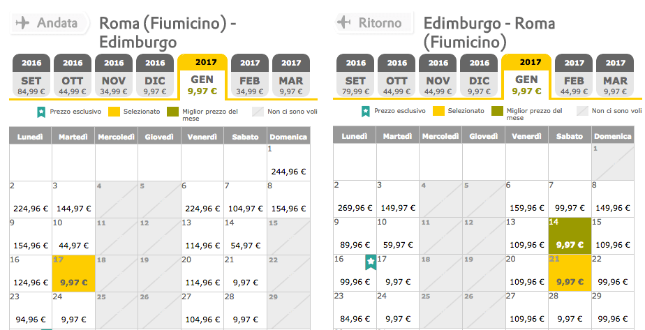 voli low cost edimburgo